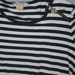 Michael Kors striped crew zipper top